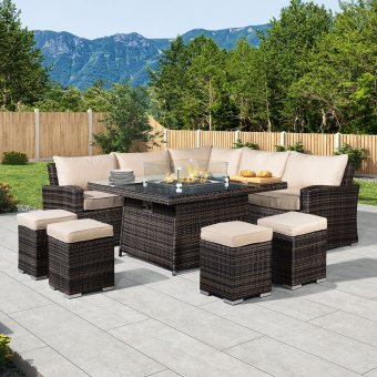 Nova - Deluxe Cambridge Corner Dining Set with Firepit Table - Brown