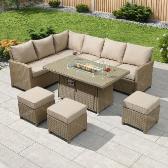 Nova - Ciara Left Hand Rattan Corner Dining Set with Firepit Table - Willow