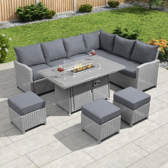 Nova - Ciara Right Hand Corner Dining Set with Firepit Table - White Wash