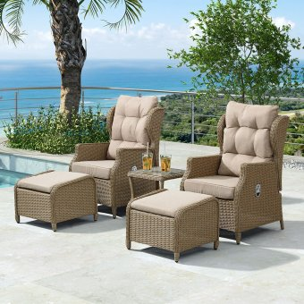 Nova - Skylar Luxury Rattan Reclining Lounge Chair Set - Willow