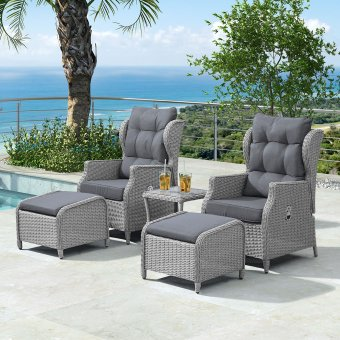 Nova - Skylar Reclining Rattan Lounge Set - White Wash