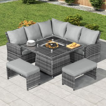 Nova - Compact Cambridge Corner Rattan Dining Set with Firepit Table - Grey