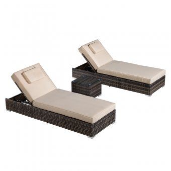 Nova - Rimini Sun Lounger Set - Brown