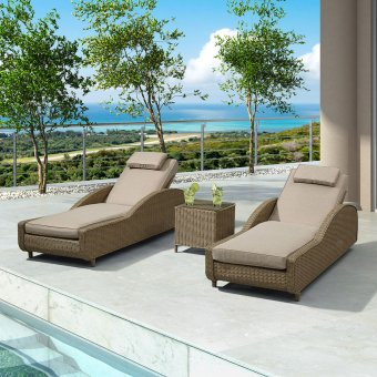 Nova - Madison Rattan Sun Lounger Set - Willow