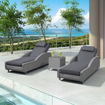 Nova - Madison Rattan Sun Lounger Set - White Wash