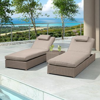 Nova - Rhodes Rattan Sun Lounger Set - Willow