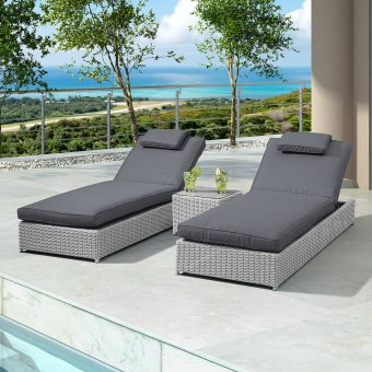 Nova - Rhodes Sun Lounger Set - White Wash