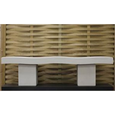 Harley Modern Wave Garden Bench Dry Cast Reconstituted Stone - UK Made