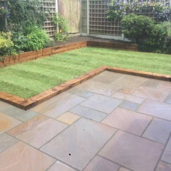 Autumn Brown Sandstone Paving Slab Patio Kit - 19.19m2 Project Pack