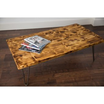 1000mm Burnt Scaffold Board Coffee Table