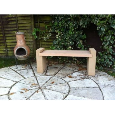 Kobocrete Dual Garden Bench Dry Cast Stone Mix With Solid Cherry Oak Hardwood Top