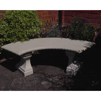 A Stone Curved Classic Garden Cast Concrete  Bench TOP ONLY
