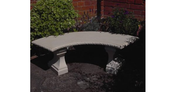 Stone Curved Classic Garden Cast Concrete Bench