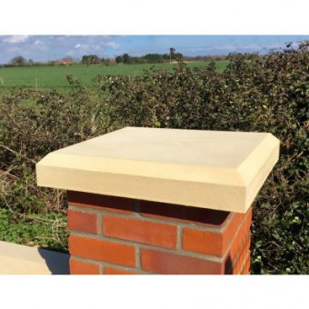 Kingsbridge 25 Inch, 635mm Shallow Chamfered Flat Top Pier Cap - UK Made
