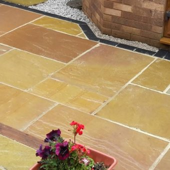 Lalitpur Yellow Sandstone Paving Slab Patio Kit - 19.19m2 Project Pack