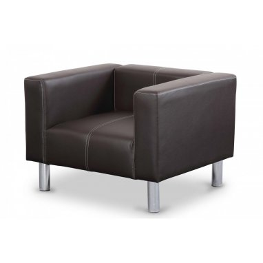 Orlando Brown Faux Leather Square Bucket Chair