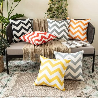 Outdoor Waterproof Garden Cushion Covers with Wave Patterns (450mm by 450mm) - Two Pack