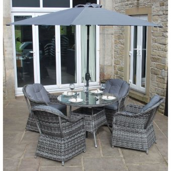 Luxury Grey Rattan 4 Seat Round Dining Set