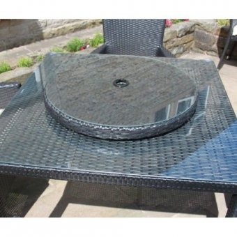 Rattan Lazy Susan Outdoor Garden Furniture in Black