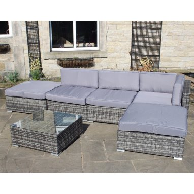 All weather PVC rattan corner sofa set with coffee table - Grey, Brown or Black