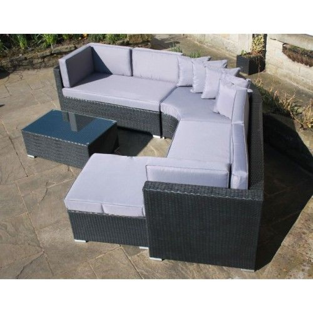 Rattan Corner Sofa Garden Set: RATTAN OUTDOOR CURVED CORNER SOFA SET GARDEN FURNITURE IN