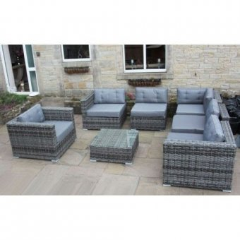 LUXURY GREY RATTAN CORNER SOFA SET