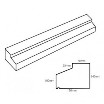 TYPE 2 STONE SLIP WINDOW SILL 140-100MM X 150MM