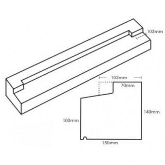 TYPE 3 STONE STOOLED WINDOW SILL 140-100MM X 150MM
